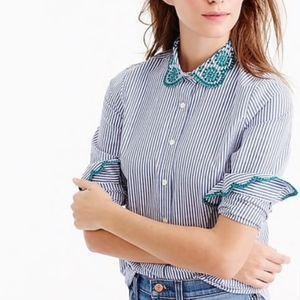 J. Crew Striped Buttondown Embroidered Collar